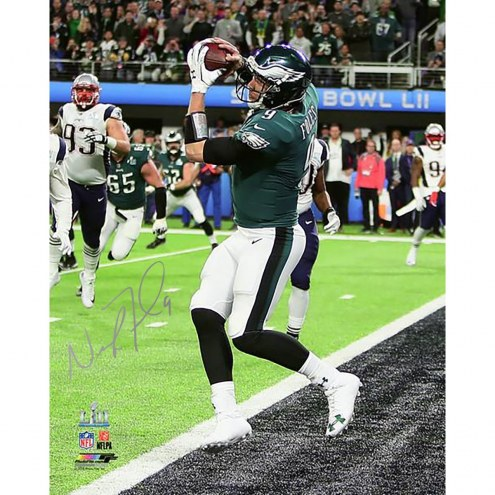 Philadelphia Eagles Nick Foles Super Bowl LII Champions Signed 16 x 20 Catching Touchdown Photo