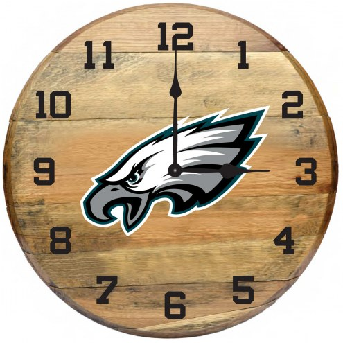 Philadelphia Eagles Oak Barrel Clock
