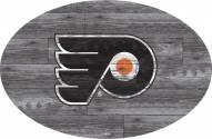 "Philadelphia Flyers 46"" Distressed Wood Oval Sign"