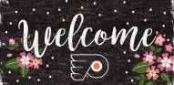 """Philadelphia Flyers 6"""" x 12"""" Floral Welcome Sign"""