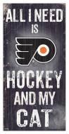 "Philadelphia Flyers 6"" x 12"" Hockey & My Cat Sign"