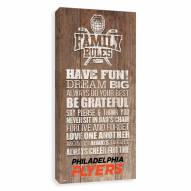 Philadelphia Flyers Family Rules Icon Wood Printed Canvas
