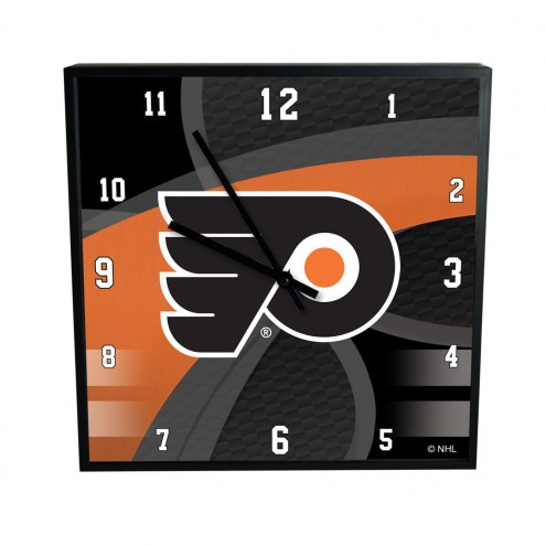 Philadelphia Flyers Carbon Fiber Square Clock