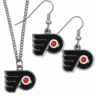 Philadelphia Flyers Dangle Earrings & Chain Necklace Set