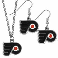Philadelphia Flyers Dangle Earrings & Chain Necklace Set