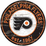 Philadelphia Flyers Distressed Round Sign