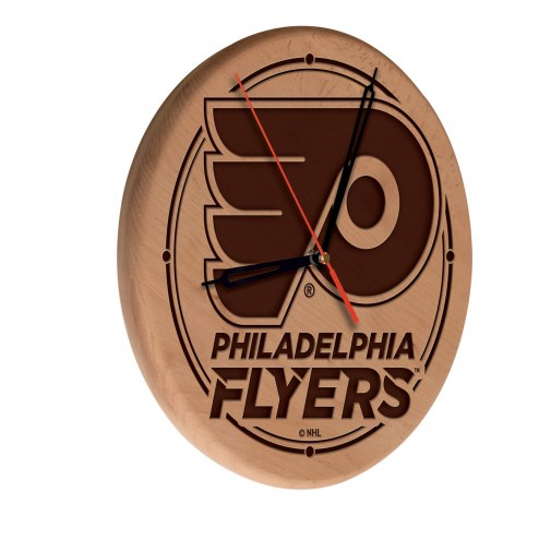 Philadelphia Flyers Laser Engraved Wood Clock