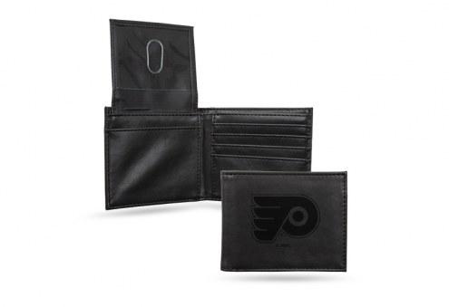 Philadelphia Flyers Laser Engraved Black Billfold Wallet