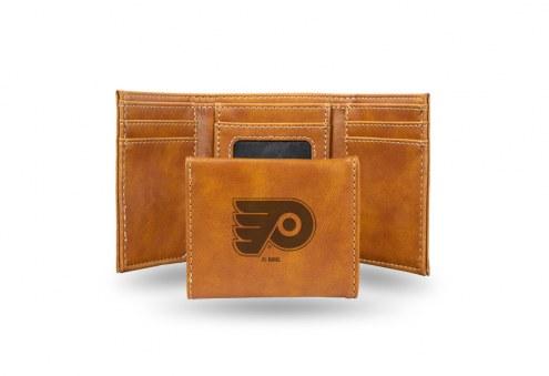 Philadelphia Flyers Laser Engraved Brown Trifold Wallet