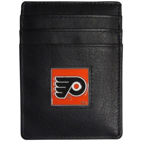 Philadelphia Flyers Leather Money Clip/Cardholder in Gift Box
