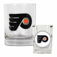Philadelphia Flyers NHL Rocks Glass and Square Shot Glass - 2 Piece Set