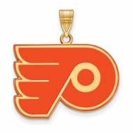 Philadelphia Flyers Sterling Silver Gold Plated Large Enameled Pendant