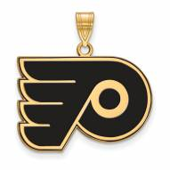 Philadelphia Flyers Sterling Silver Gold Plated Large Enameled Pendant