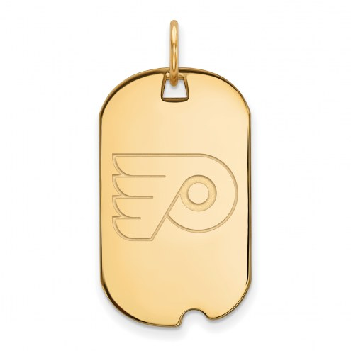 Philadelphia Flyers Sterling Silver Gold Plated Small Dog Tag