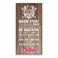 Philadelphia Phillies Family Rules Icon Wood Framed Printed Canvas