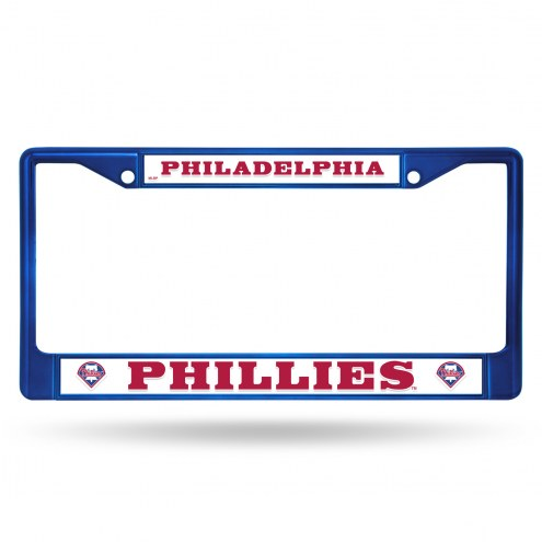 Philadelphia Phillies Blue Colored Chrome License Plate Frame