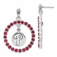 Philadelphia Phillies Crystal Logo Wreath Earrings
