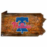 Philadelphia Phillies Distressed State with Logo Sign