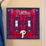 Philadelphia Phillies Glass Double Switch Plate Cover