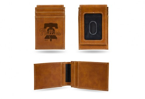 Philadelphia Phillies Laser Engraved Brown Front Pocket Wallet