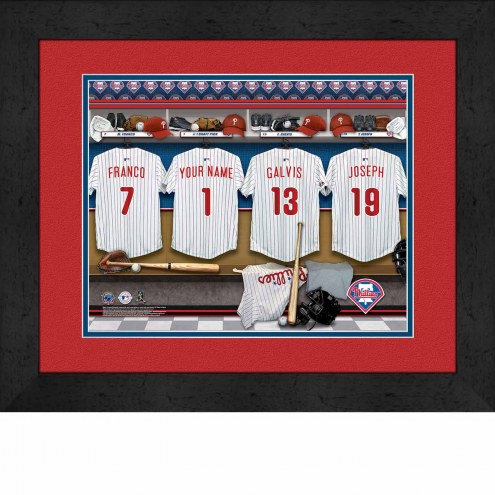 Philadelphia Phillies Personalized Locker Room 13 x 16 Framed Photograph