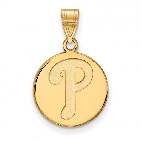Philadelphia Phillies Sterling Silver Gold Plated Medium Disc Pendant