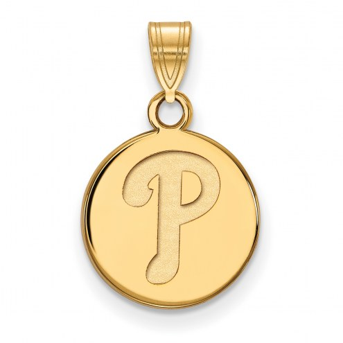 Philadelphia Phillies Sterling Silver Gold Plated Small Disc Pendant