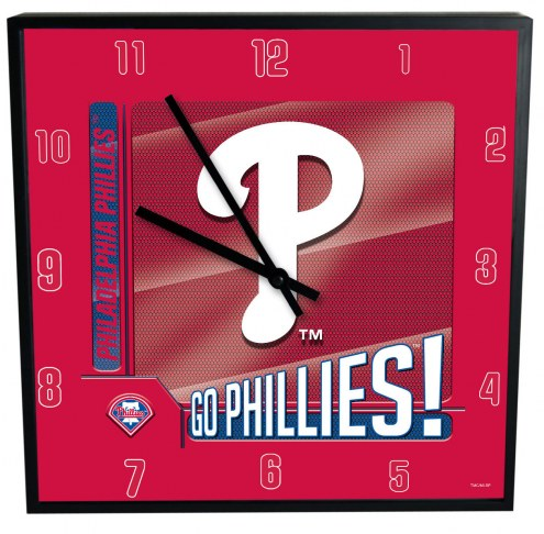 Philadelphia Phillies Team Black Square Clock