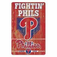 Philadelphia Phillies Slogan Wood Sign