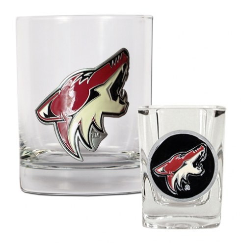 Arizona Coyotes NHL Rocks Glass and Square Shot Glass - 2 Piece Set