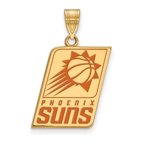Phoenix Suns Sterling Silver Gold Plated Large Enameled Pendant
