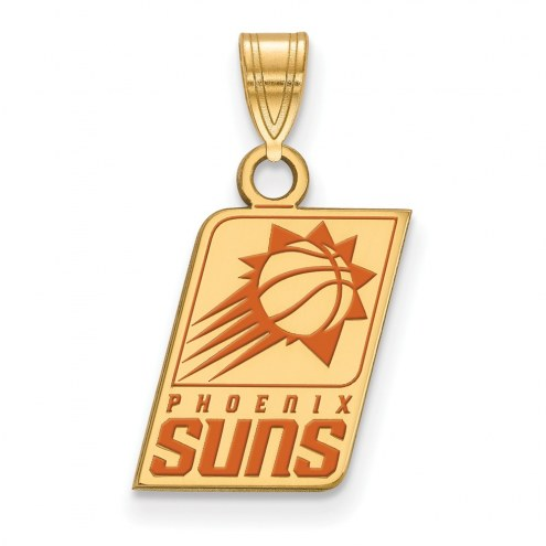 Phoenix Suns Sterling Silver Gold Plated Small Enameled Pendant