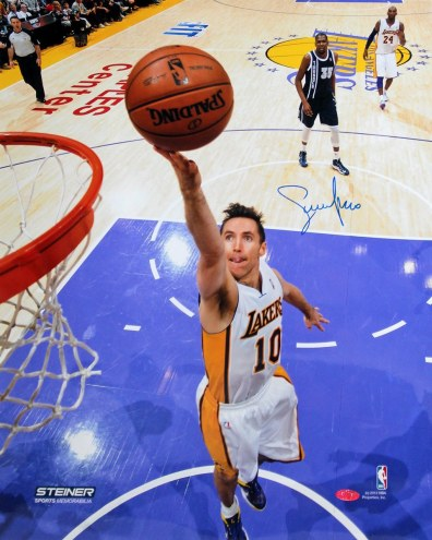 Phoenix Suns Steve Nash Layup Against The Oklahoma City Thunder Signed 16 x 20 Photo