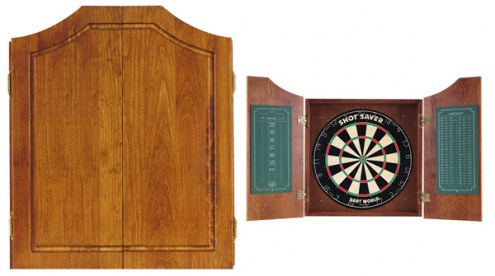 Pine Dartboard Cabinet - Early American Stain