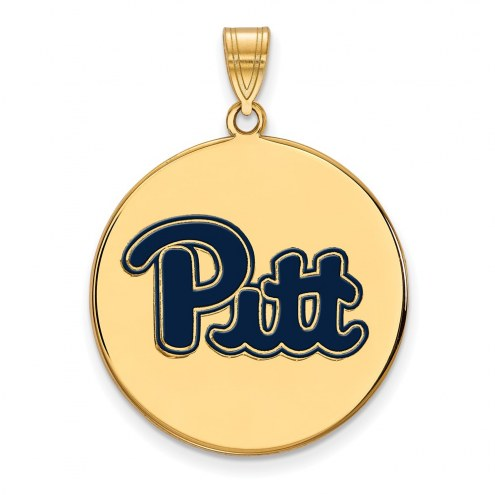 Pittsburgh Panthers Sterling Silver Gold Plated Extra Large Enameled Disc Pendant