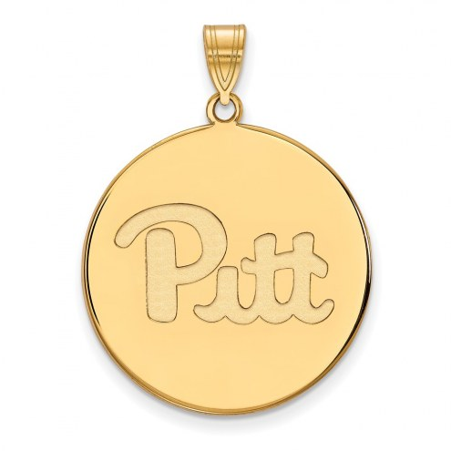 Pittsburgh Panthers Sterling Silver Gold Plated Extra Large Disc Pendant