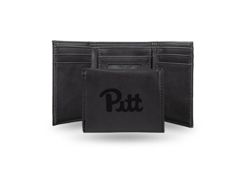 Pittsburgh Panthers Laser Engraved Black Trifold Wallet