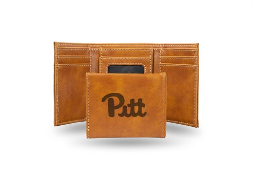 Pittsburgh Panthers Laser Engraved Brown Trifold Wallet