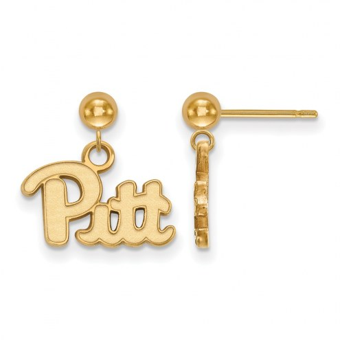 Pittsburgh Panthers Sterling Silver Gold Plated Dangle Ball Earrings