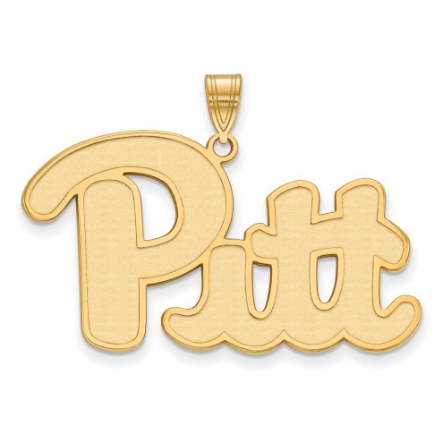 Pittsburgh Panthers Sterling Silver Gold Plated Extra Large Pendant