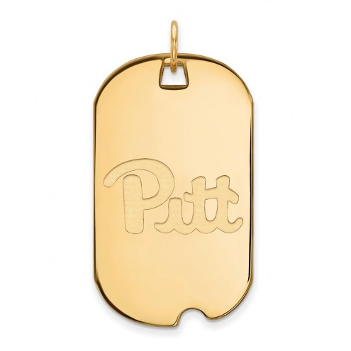 Pittsburgh Panthers Sterling Silver Gold Plated Large Dog Tag