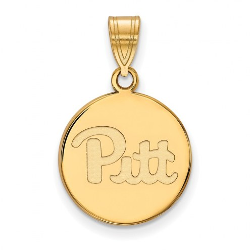 Pittsburgh Panthers Sterling Silver Gold Plated Medium Disc Pendant