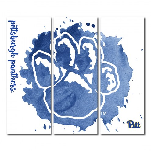 Pittsburgh Panthers Triptych Watercolor Canvas Wall Art