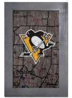 "Pittsburgh Penguins 11"" x 19"" City Map Framed Sign"