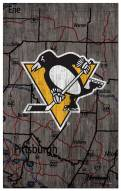 """Pittsburgh Penguins 11"""" x 19"""" City Map Sign"""