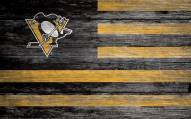 """Pittsburgh Penguins 11"""" x 19"""" Distressed Flag Sign"""
