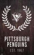 "Pittsburgh Penguins 11"" x 19"" Laurel Wreath Sign"