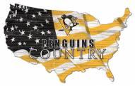 "Pittsburgh Penguins 15"" USA Flag Cutout Sign"