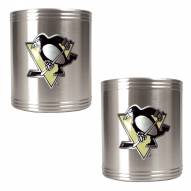 Pittsburgh Penguins 2-Piece Stainless Steel Can Koozie Set - Primary Logo