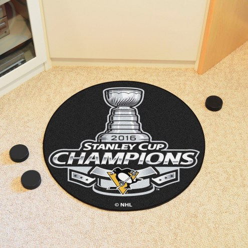 Pittsburgh Penguins 2016 Stanley Cup Champions Hockey Puck Mat